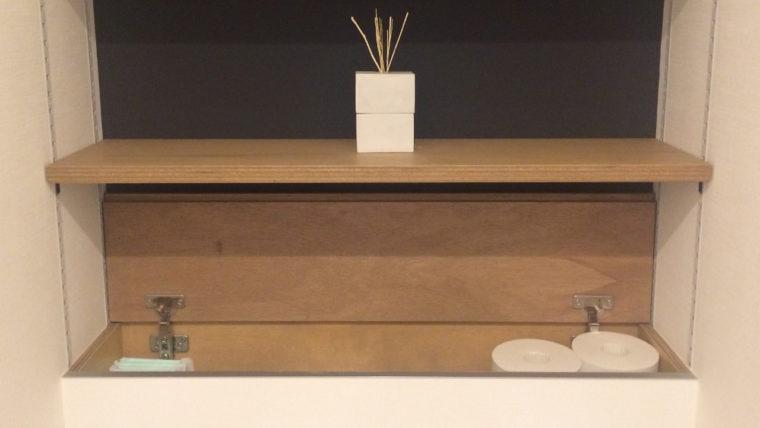 注文住宅のトイレ収納実例ー背面収納棚