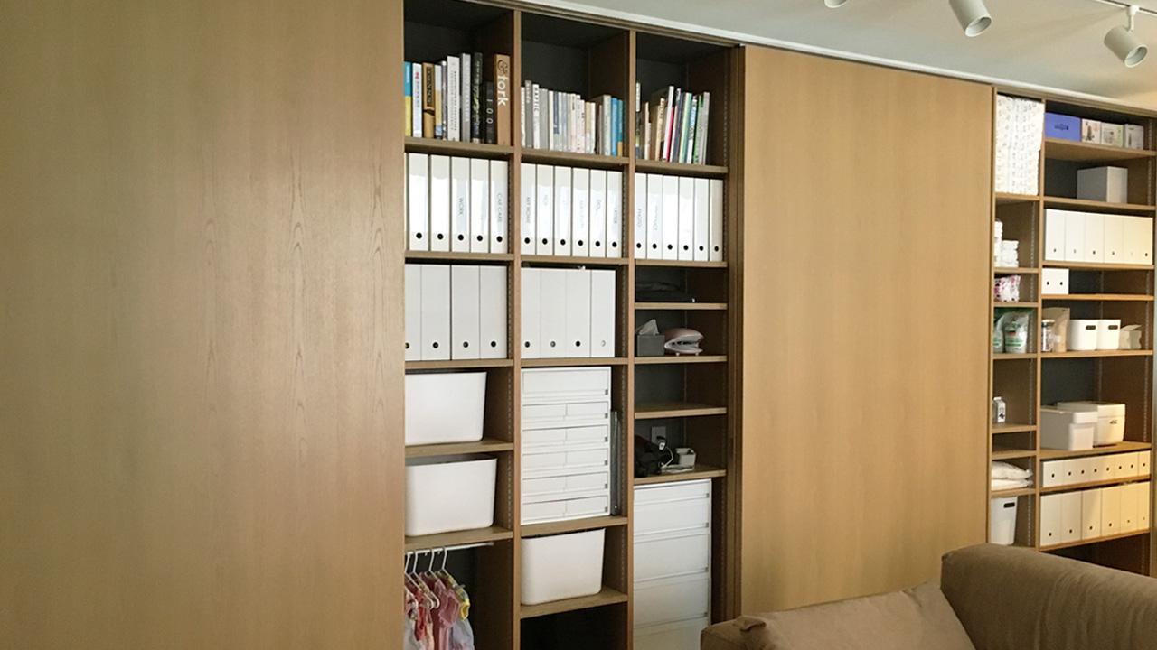 リビングの壁面収納実例-注文住宅の家づくり