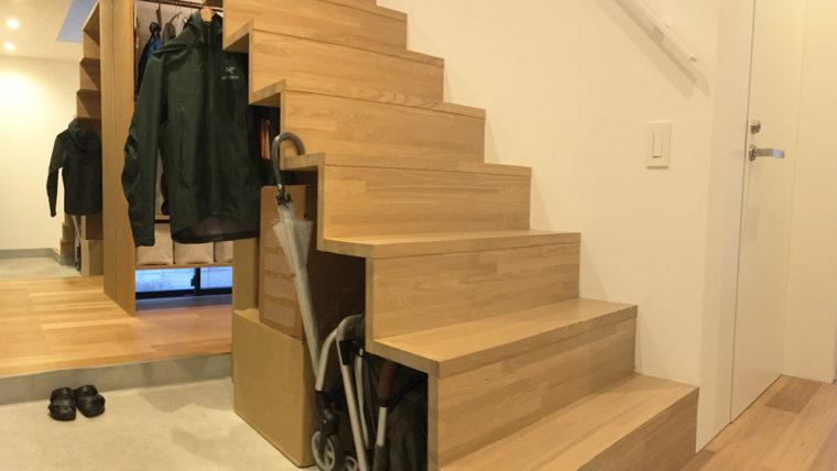 玄関土間収納-階段下のデッドスペースを有効活用